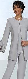 Ben Marc Executive 11924 Womens Weekender Skirt And Pant Suit Set With Ruffle Cuff Jacket