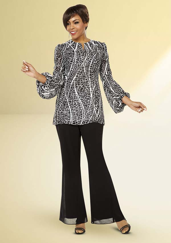 Ben Marc Casual Elegance 18315 Womens Flared Pant Suit With Printed Puff Sleeve Design Top