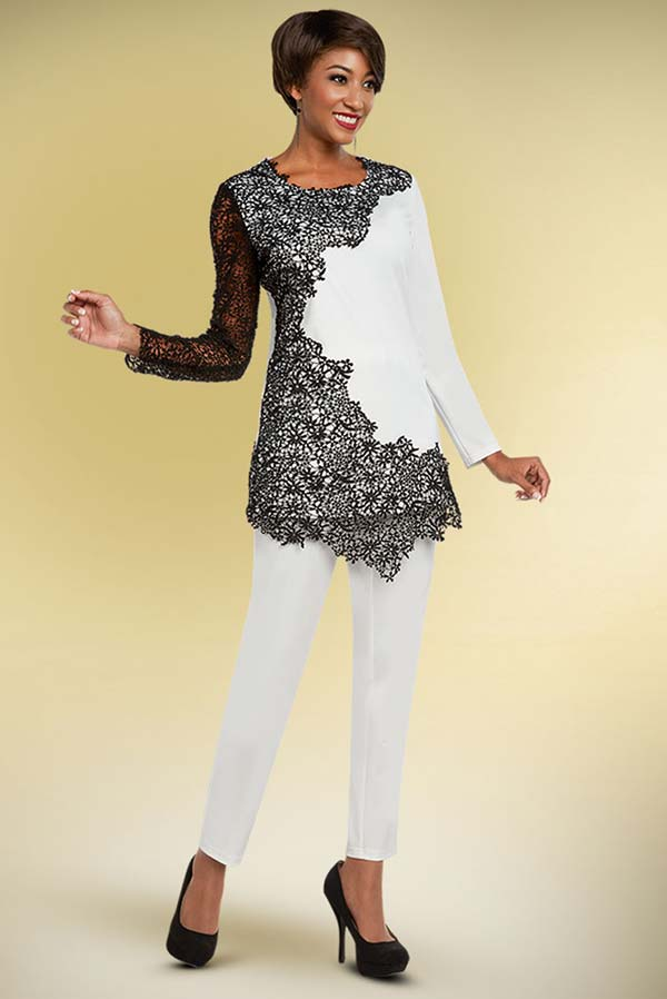 Ben Marc Casual Elegance 18324 Ladies Pant Suit With Asymmetric Style Lace Applique Top