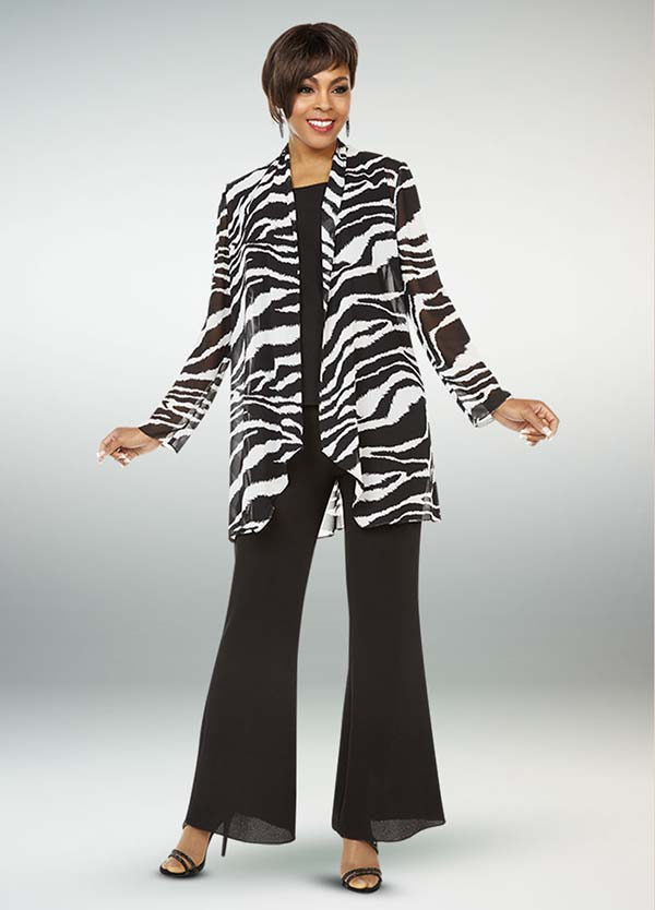 Ben Marc Casual Elegance 18327 Ladies Flared Pant Suit With Animal Print Jacket