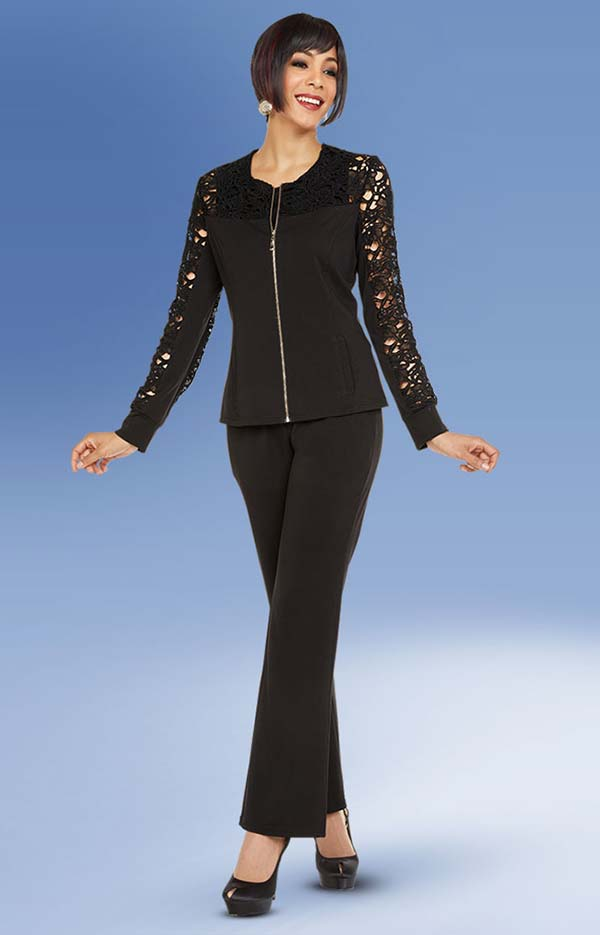 Ben Marc Casual Elegance 18341 Jewel Neckline Womens Pant Suit With Zipper Front Cutout Style Sleeve Top
