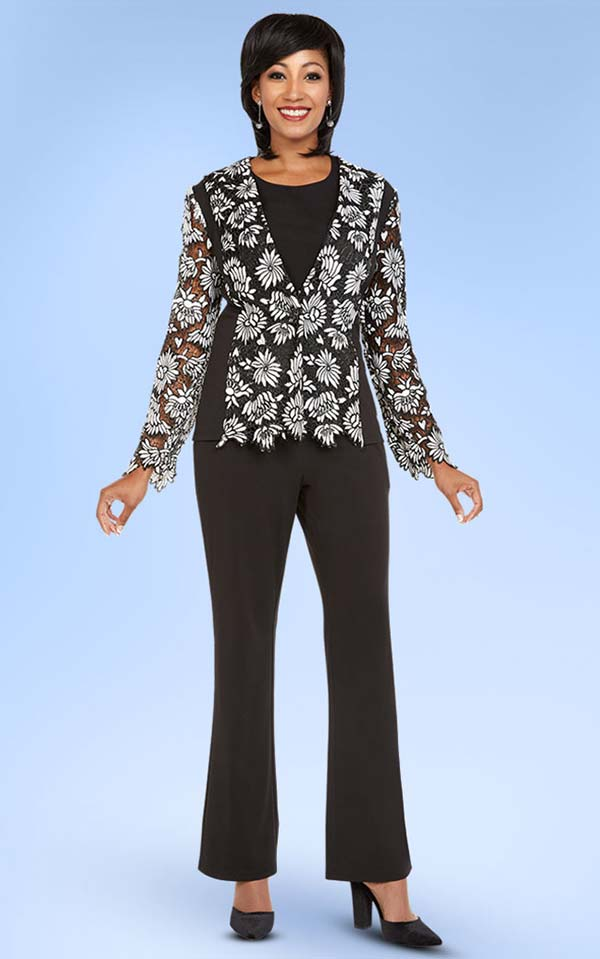 Ben Marc Casual Elegance 18342 Womens Pant Suit With Floral Applique Top