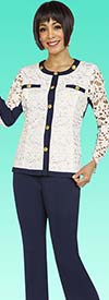 Ben Marc Casual Elegance 18345 Womens Pant Suit With Solid Trimmed Lace Top