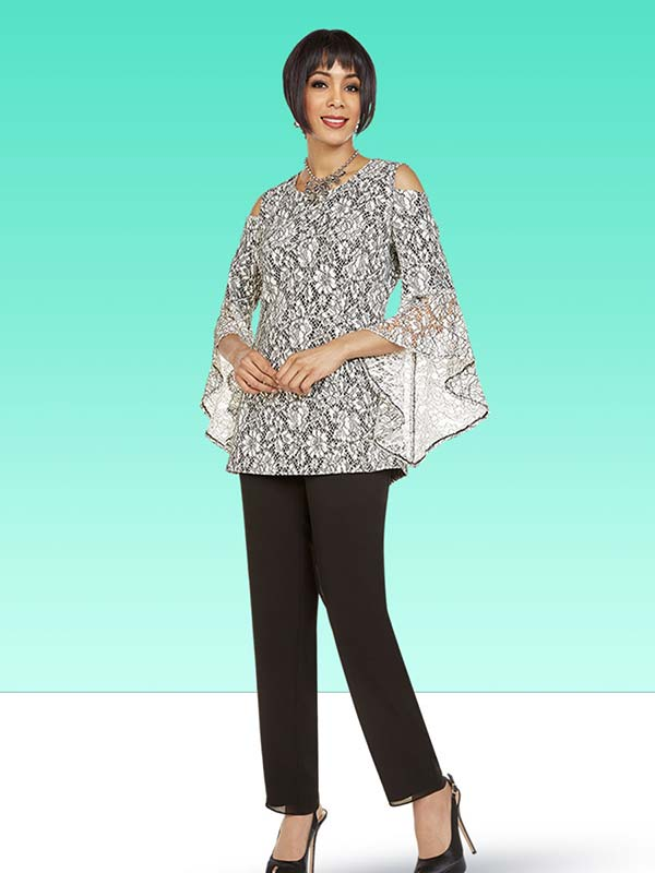 Ben Marc Casual Elegance 18346 Womens Pant Suit With Angel Sleeve Cold Shoulder Lace Top