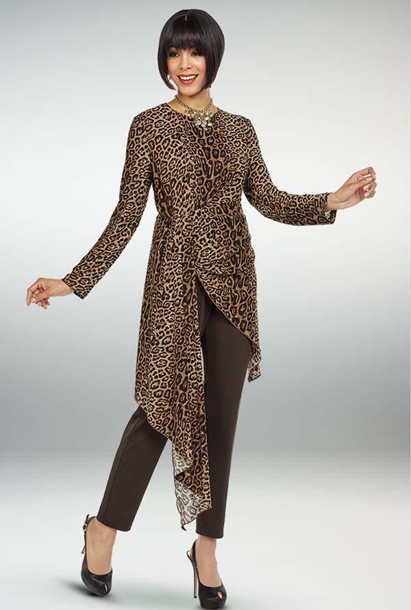 Ben Marc Casual Elegance 18352 Womens Pant Suit With Animal Print Asymmetric Hem Design Top