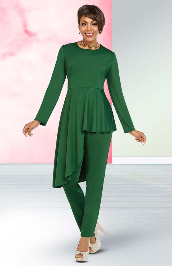 Ben Marc Casual Elegance 18353 Womens Pant Suit With Asymmetric Hem Design Top