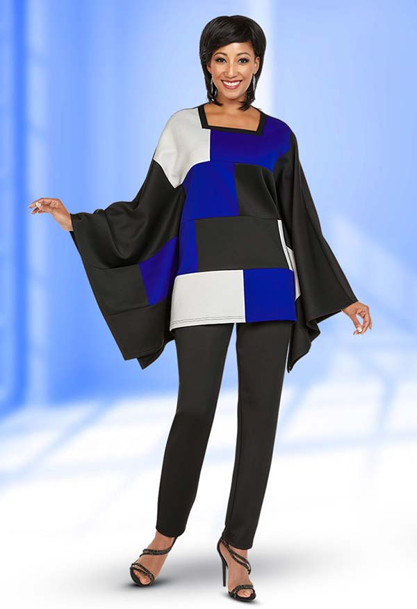 Ben Marc Casual Elegance 18357 Womens Pant Suit With Square Neckline Poncho Style Color Block Top