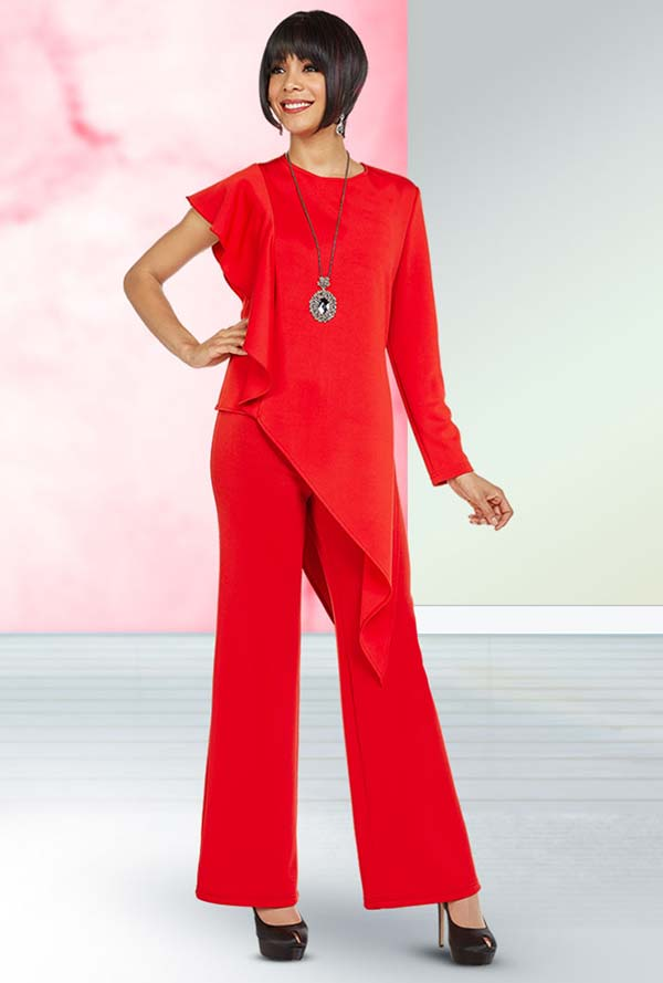 Ben Marc Casual Elegance 18359 Womens Pant Suit With Asymmetric Style One Sleeve Design