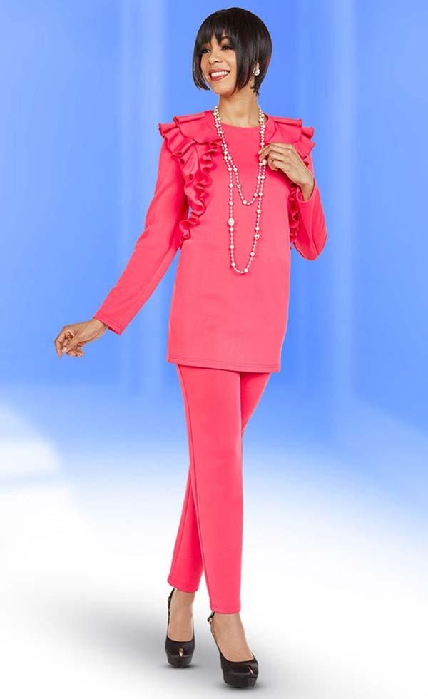 Ben Marc Casual Elegance 18362 Ladies Pant Suit With Ruffle Shoulder Design Top