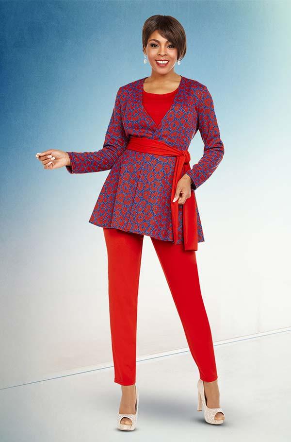Ben Marc Casual Elegance 18363 Womens Pant Suit With Print Design Top & Sash