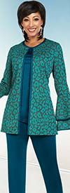 Ben Marc Casual Elegance 18364 Womens Pant Suit With Double Bell Cuff Print Design Top