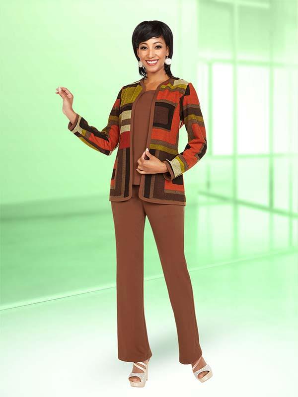 Ben Marc Casual Elegance 18365 Ladies Pant Suit With Multi Color Print Design Jacket
