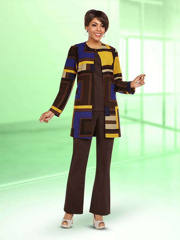 Ben Marc Casual Elegance 18366 Ladies Pant Suit With Longer Multi Color Print Design Jacket