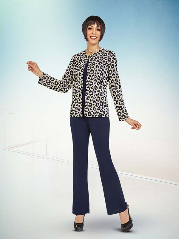 Ben Marc Casual Elegance 18368 Womens Pant Set With Animal Print Design Jacket