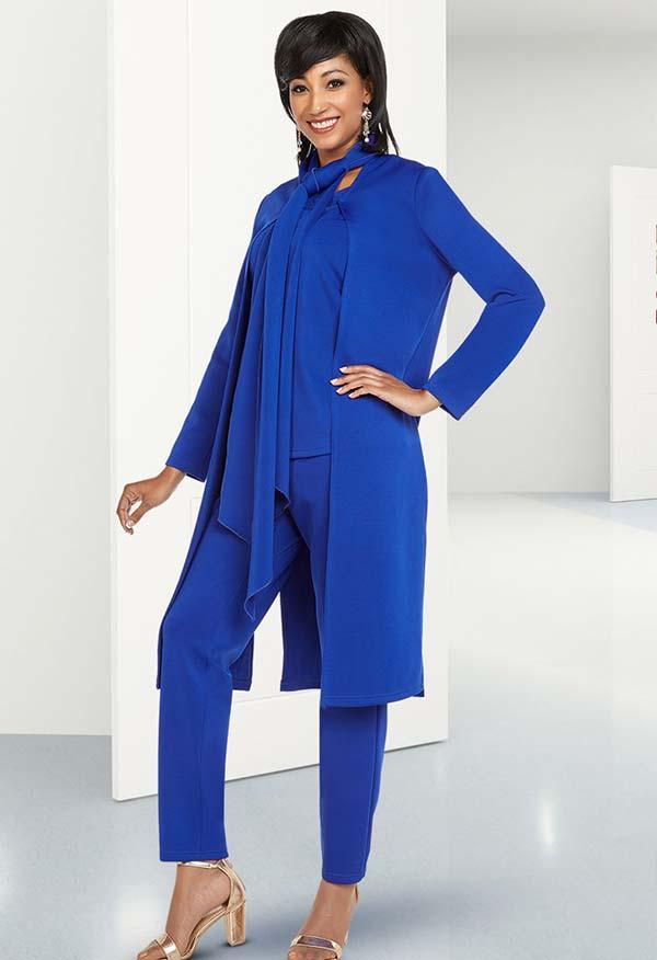 Ben Marc Casual Elegance 18369 Womens Pant Set With Long Jacket & Sash