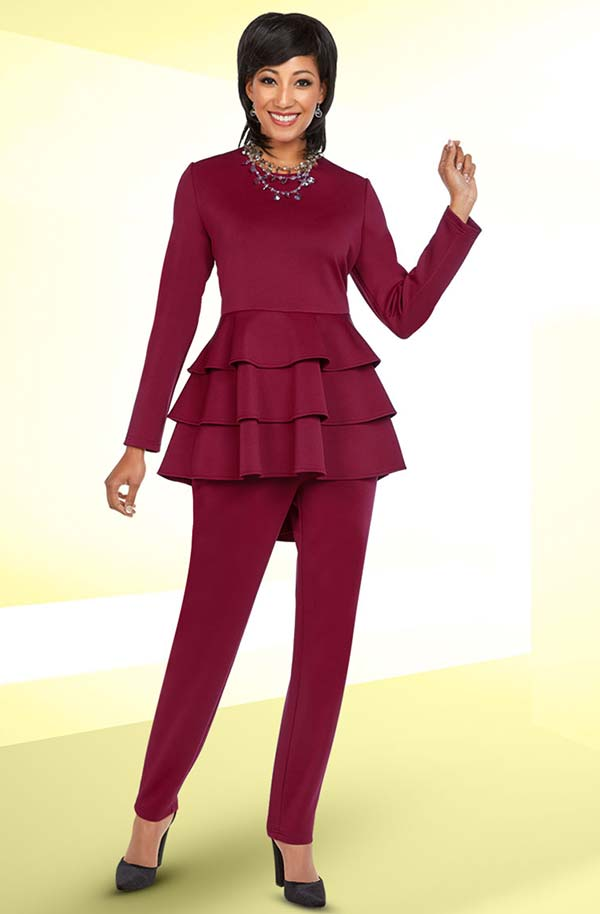 Ben Marc Casual Elegance 18373 Womens Pant Set With Triple Layer Peplum Top