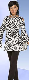 Ben Marc Casual Elegance 18376 Womens Pant Set With Wide Bell Sleeve Cold Shoulder Design Zebra Print Top