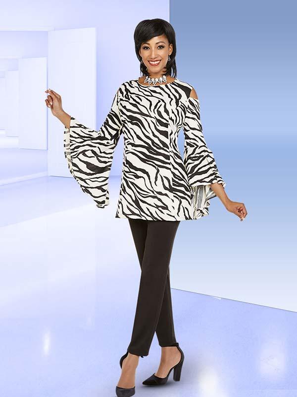 Ben Marc Casual Elegance 18376 Womens Pant Set With Wide Bell Sleeve Cold Shoulder Design Zebra Print Top