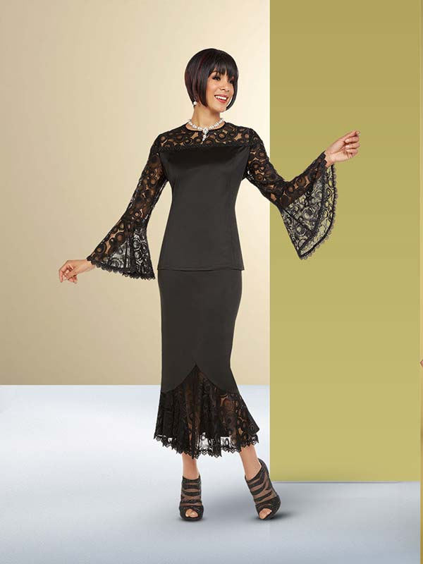 Ben Marc Casual Elegance 18379 Lace Design Bell Sleeve Top With Flounce Hem Skirt