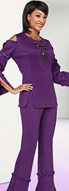 Ben Marc Casual Elegance 18383 Ladies Pant Suit With Slit & Bound Sleeve Design Top