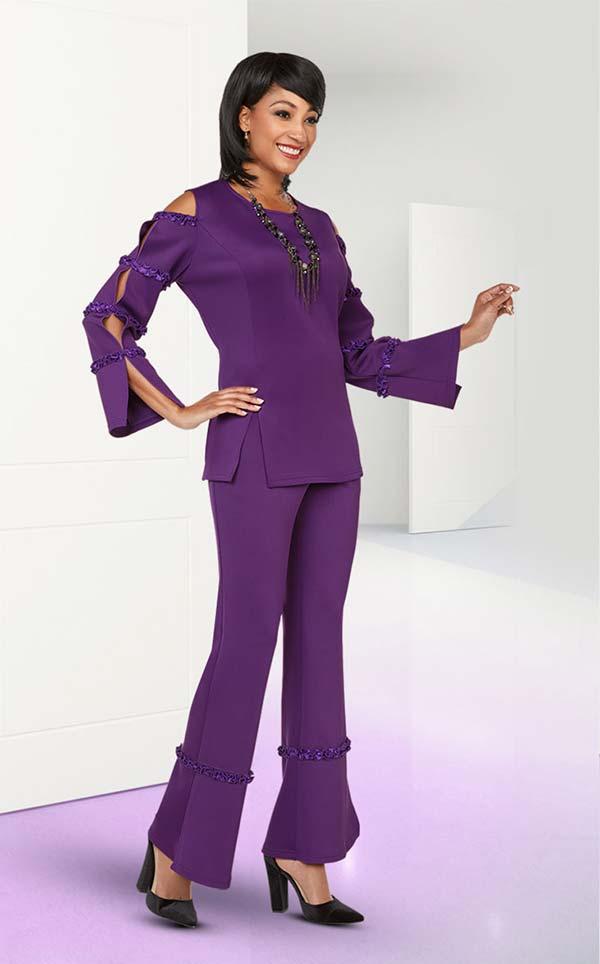 Ben Marc Casual Elegance 18383 Ladies Pant Suit With Slit & Bound Sleeve Design Top
