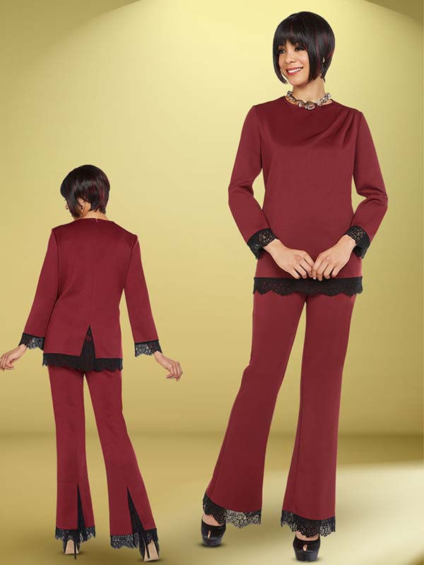 Ben Marc Casual Elegance 18384 Ladies Pant Suit With Lace Trim Design