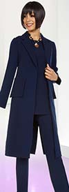 Ben Marc Casual Elegance 18387 Womens Pant Set With Long Notch Lapel Jacket