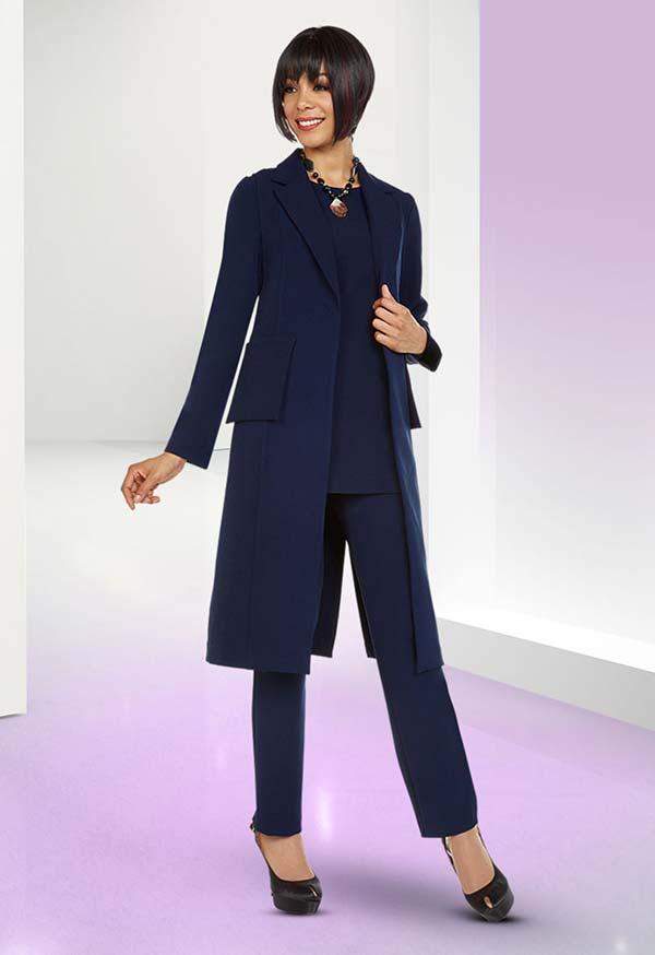 Ben Marc Casual Elegance 18387 Womens Pant Set With Long Notch Lapel Jacket