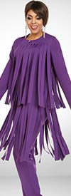 Ben Marc Casual Elegance 18388-Eggplant - Womens Pant Suit With Car Wash Fringe Design Jacket