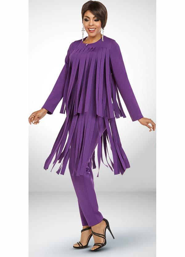 Ben Marc Casual Elegance 18388-Eggplant - Womens Pant Suit With Car Wash Fringe Design Jacket