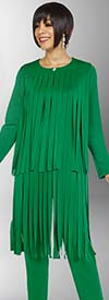 Ben Marc Casual Elegance 18388-Emerald - Womens Pant Suit With Car Wash Fringe Design Jacket