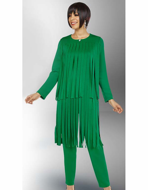 Ben Marc Casual Elegance 18388-Emerald - Womens Pant Suit With Car Wash Fringe Design Jacket