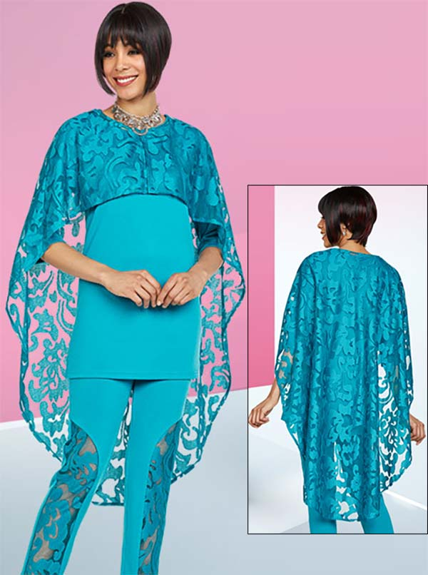 Ben Marc Casual Elegance 18390-Teal - Womens Pant Suit With Lace Cape Design