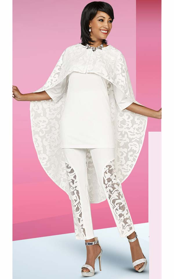 Ben Marc Casual Elegance 18390-White - Womens Pant Suit With Lace Cape Design
