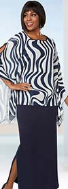 Ben Marc Casual Elegance 18273 Womens Skirt Suit With Wavy Stripe Print Peekaboo Sleeve Top