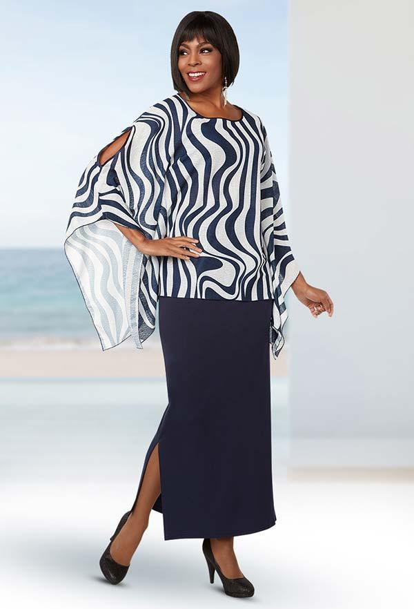 Ben Marc Casual Elegance 18273 Womens Skirt Suit With Wavy Stripe Print Peekaboo Sleeve Top