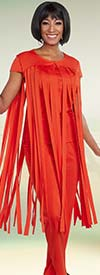 Ben Marc Casual Elegance 18285-Red - Pant Suit With Carwash Fringe Style Top