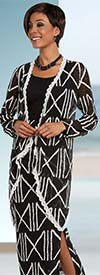 Ben Marc Casual Elegance 18291-Black - Womens Multi Tier Skirt Suit With Print Pattern
