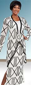 Ben Marc Casual Elegance 18291-OffWhite - Womens Multi Tier Skirt Suit With Print Pattern