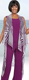 Ben Marc Casual Elegance 18292-Magenta - Womens Pant Suit With Sleeveless Open Cardigan
