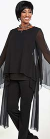 Ben Marc Casual Elegance 18300-Black - Pant Suit With Long High Low Tunic Top