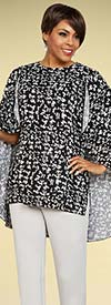 Ben Marc Casual Elegance 18354 Womens Pant Suit With Printed Cape Design Top