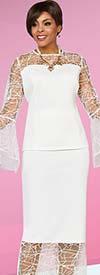 Ben Marc Casual Elegance 18380 Lace Design Bell Sleeve Top With Flounce Hem Skirt