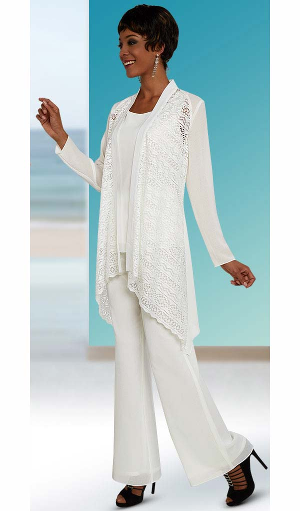 Ben Marc Casual Elegance 18297-White - Womens Pant Suit With Open Jacket