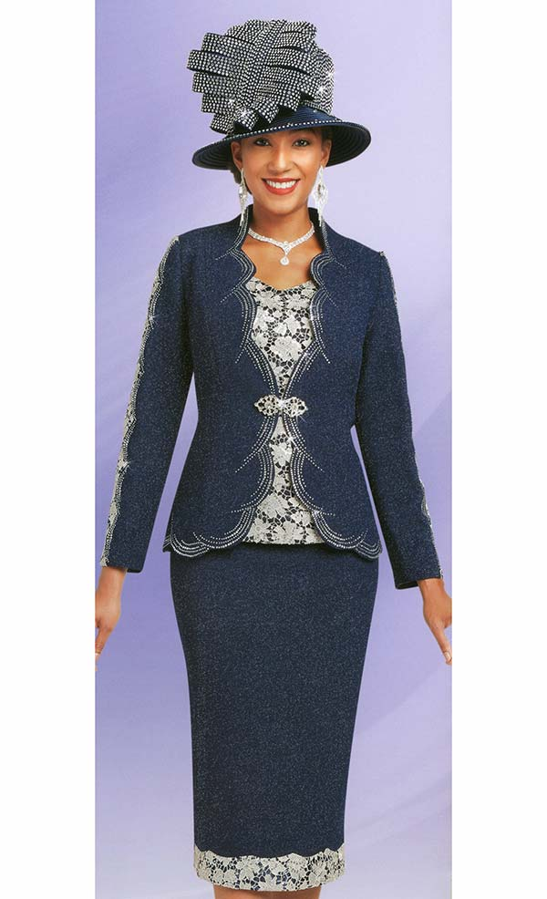 Ben Marc 48150 Womens Knit Church Suit With Lace & Scalloped Trim