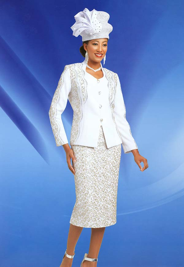 Ben Marc 48153 Womens Knit Church Suit With Intricate Design