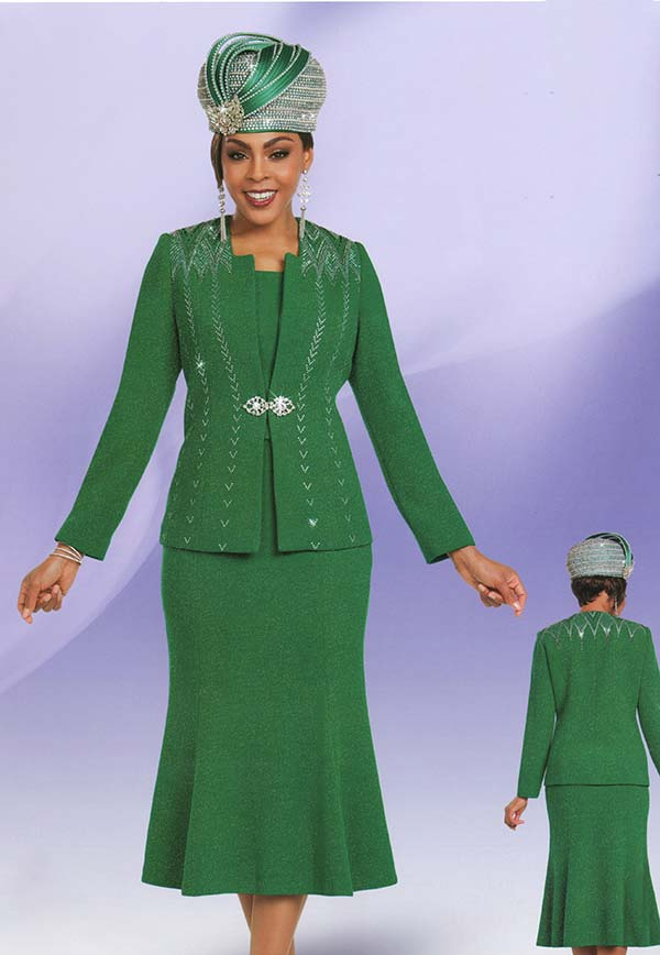 Ben Marc 48154 Womens Knit Church Suit With Flared Skirt