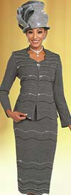 Ben Marc 48156 Womens Knit Skirt Suit With Intricate Embellished Design