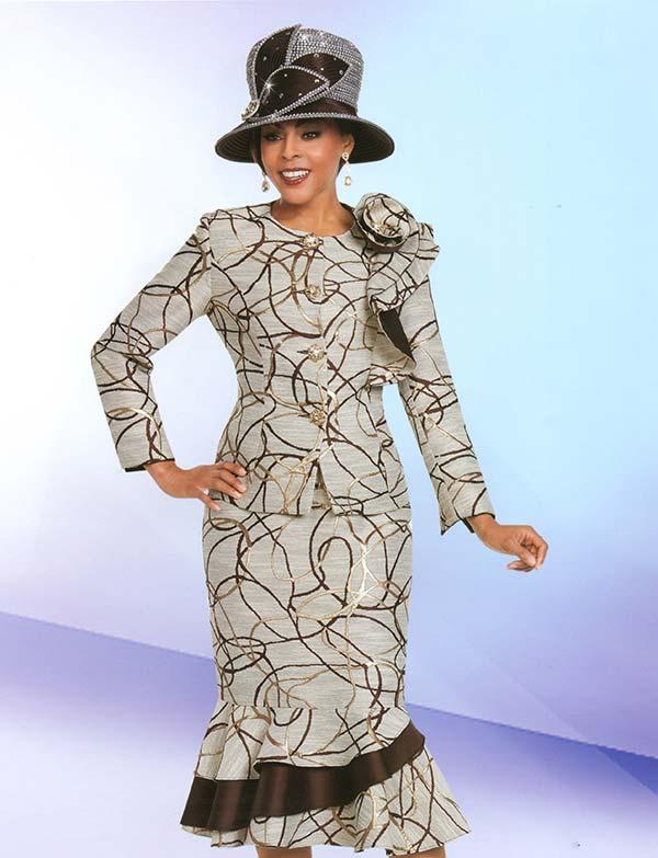 Ben Marc 48158 Womens Flounce Skirt Suit With Ruffle & Print Design