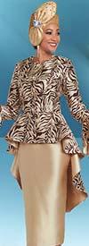 Ben Marc 48161 Skirt Suit With Long Peplum Jacket & Print Design